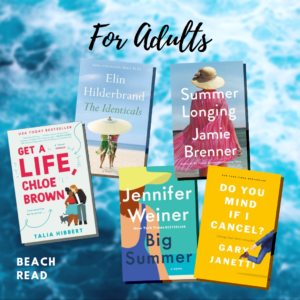 """Text reading """"For Adults"""" above five book covers on an ocean background"""