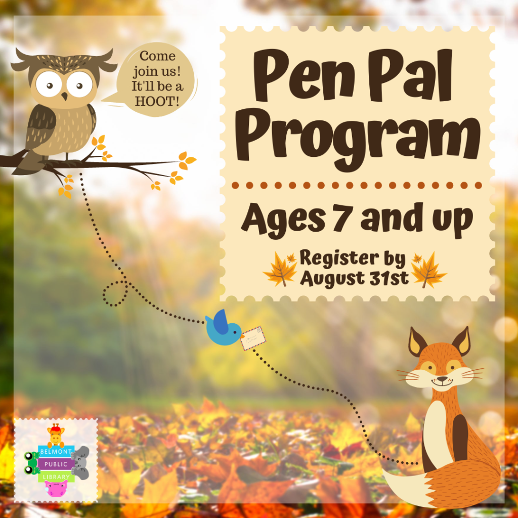 A blue bird carries a letter between an owl and a fox. Text reads Pen Pal Program for ages 7 and up.